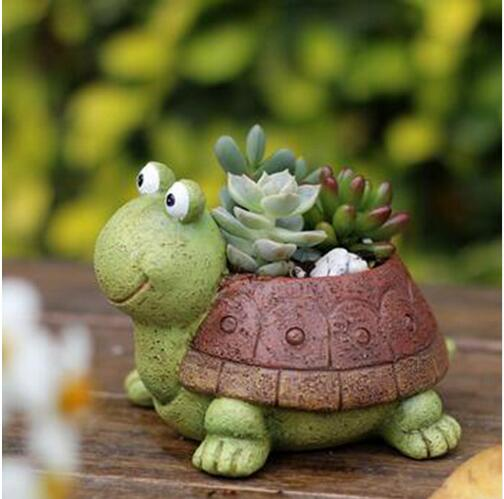 Little Turtle Succulent Plants Pots Art Craft Resin Flower Basket Home Decoration