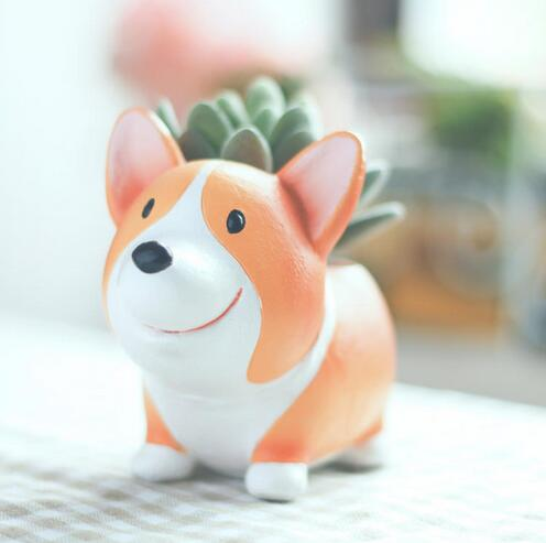 Creative Resin Planter Flowerpot Kawaii Corgi Garden Figure Flower Pots